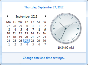 Windows clock first day of week monday