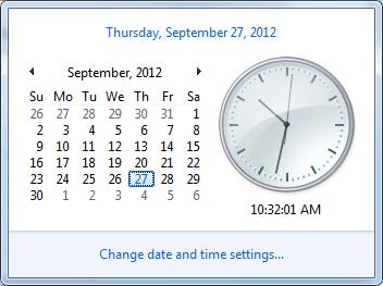 Windows clock first day of week sunday