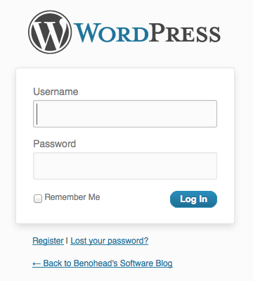 WordPress default login dialog