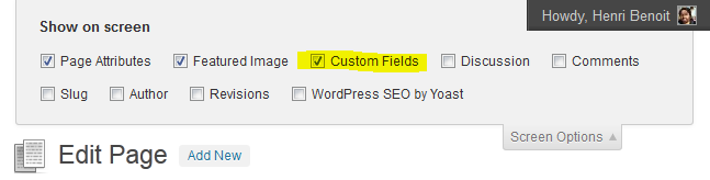 screen options display custom fields