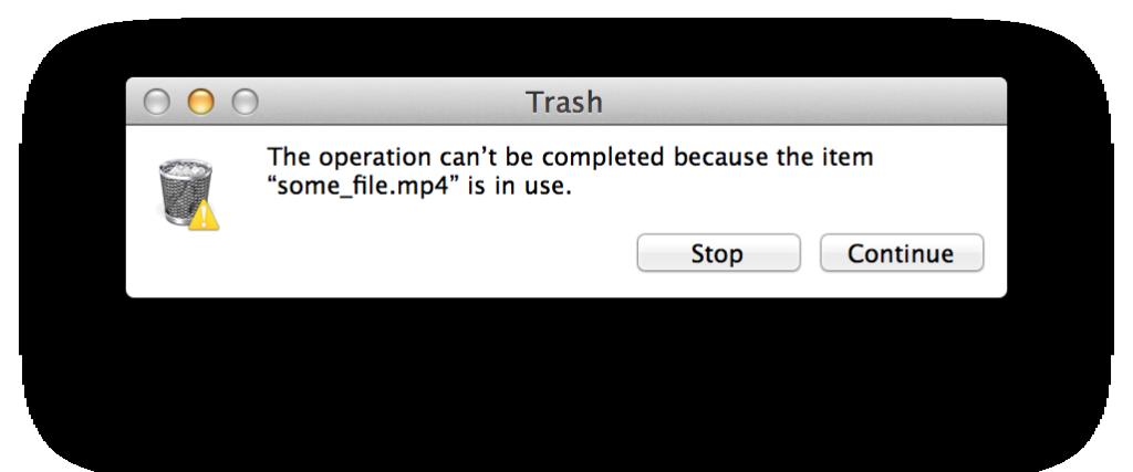 trash file in use