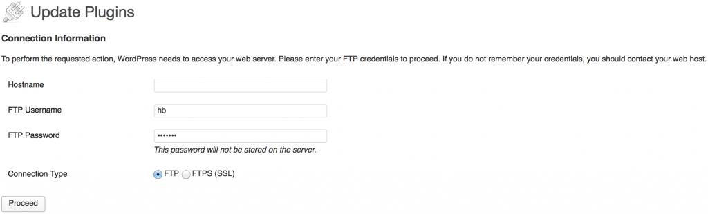 WordPress Update Plugin FTP info