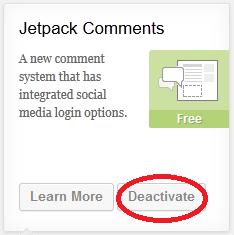 Jetpack Comments Deactivate Button