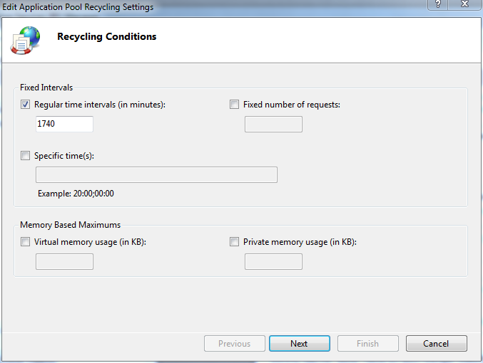 Application Pool Recycling Settings