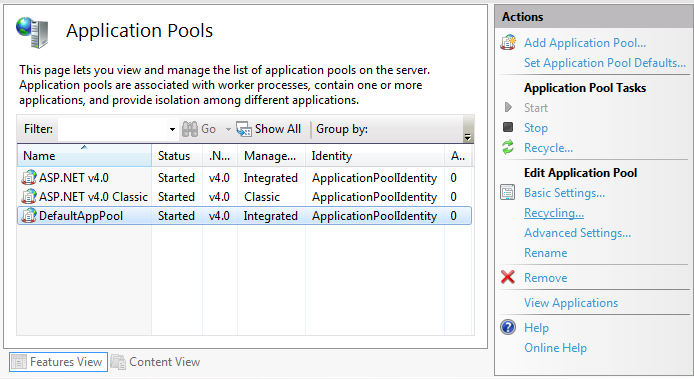 Application pool configuration