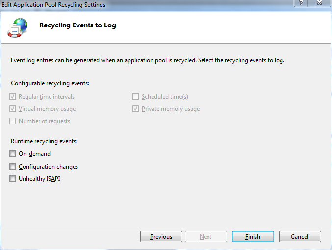 Recycling application pool recycling events to log